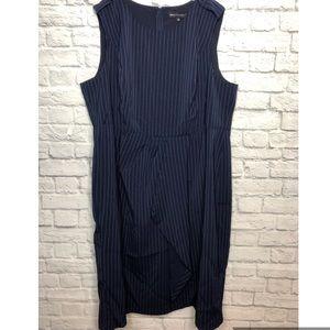 Eloquii Dresses - Jason Wu/Eloquii Navy Pintripe Oragami Dress